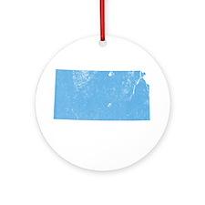 Vintage Grunge Baby Blue Blue Ornament (Round)