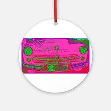 Mercury, pink, retro, car, Ornament (Round)