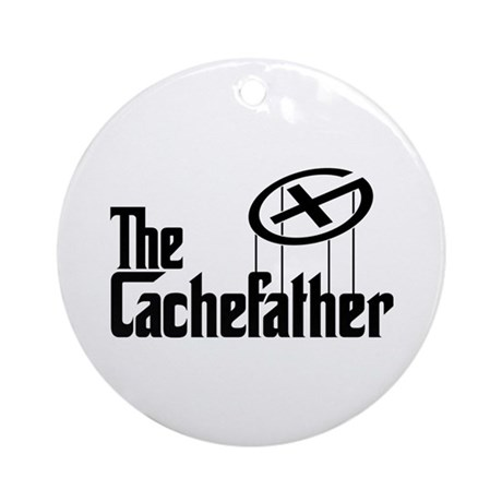 Geocaching THE CACHEFATHER black Ornament (Round)