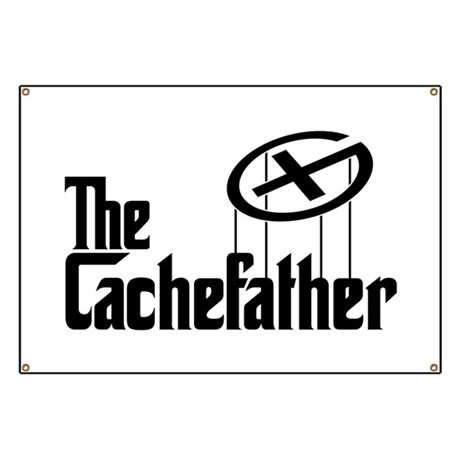 Geocaching THE CACHEFATHER black Banner