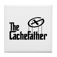 Geocaching THE CACHEFATHER black Tile Coaster