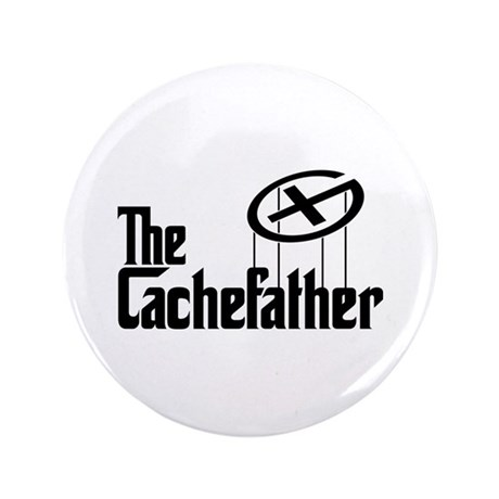 "Geocaching THE CACHEFATHER black 3.5"" Button"