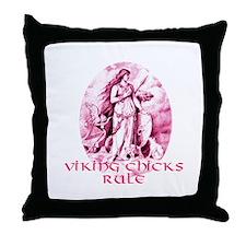 Viking Chicks Rule Throw Pillow