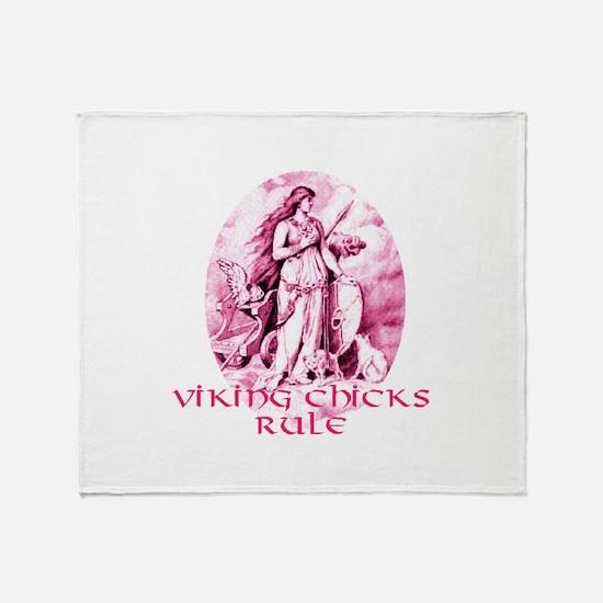 Viking Chicks Rule Throw Blanket