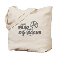 Geocaching NO FEAR gray Grunge Tote Bag