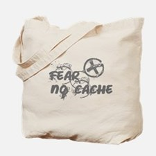 Geocaching NO FEAR gray Grunge Tote Bag