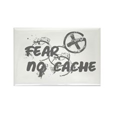 Geocaching NO FEAR gray Grunge Rectangle Magnet