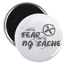 "Geocaching NO FEAR gray Grunge 2.25"" Magnet (10 pa"