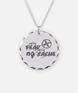 Geocaching NO FEAR gray Grunge Necklace