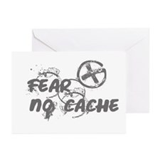 Geocaching NO FEAR gray Grunge Greeting Cards (Pk