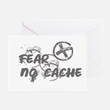 Geocaching NO FEAR gray Grunge Greeting Cards (Pk
