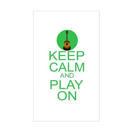 Keep Calm Play On (Guitar) Sticker (Rectangle)