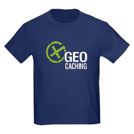 Geocaching Green Grunge Kids Dark T-Shirt