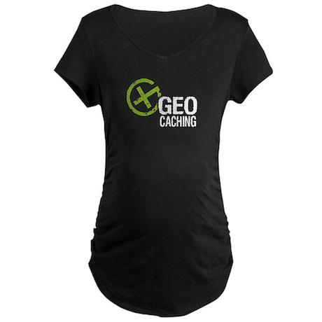 Geocaching Green Grunge Maternity Dark T-Shirt