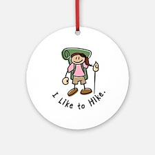I Like To Hike Girl (Green) Ornament (Round)