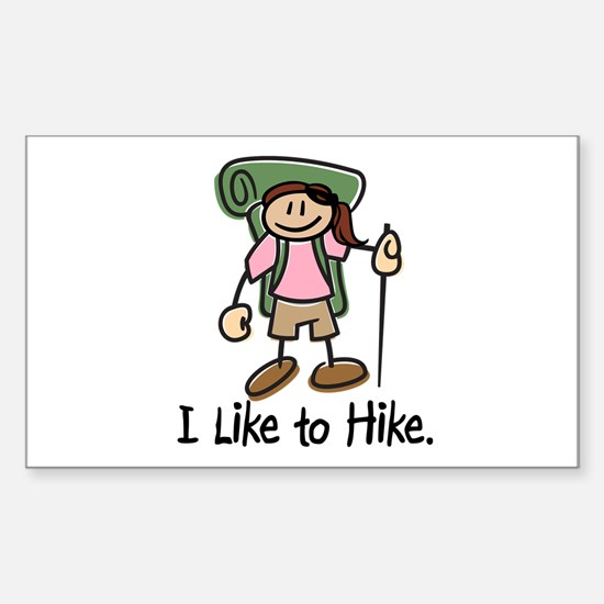 I Like To Hike Girl (Green) Sticker (Rectangle)