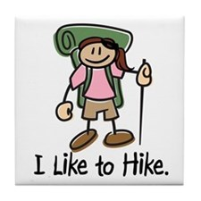 I Like To Hike Girl (Green) Tile Coaster