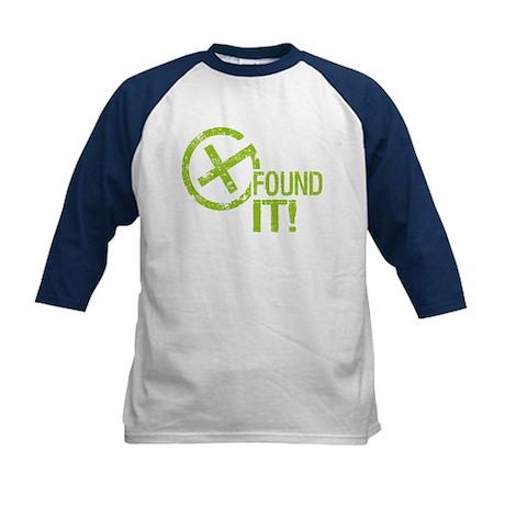 Geocaching FOUND IT! green Grunge Kids Baseball Je