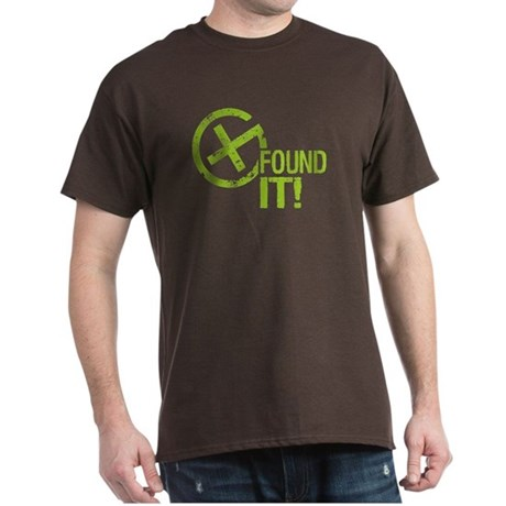 Geocaching FOUND IT! green Grunge Dark T-Shirt