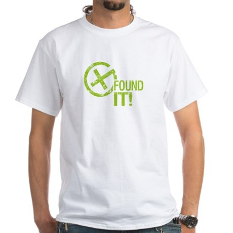 Geocaching FOUND IT! green Grunge White T-Shirt