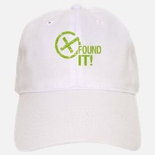 Geocaching FOUND IT! green Grunge Baseball Baseball Cap