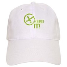 Geocaching FOUND IT! green Grunge Baseball Cap