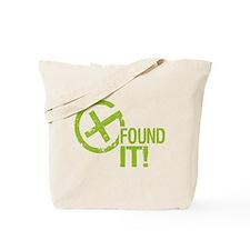 Geocaching FOUND IT! green Grunge Tote Bag