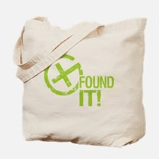 Geocaching FOUND IT! green Grunge Tote Bag