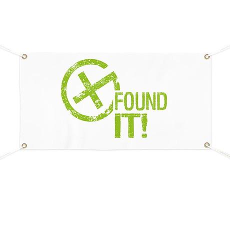 Geocaching FOUND IT! green Grunge Banner