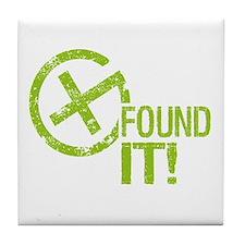 Geocaching FOUND IT! green Grunge Tile Coaster