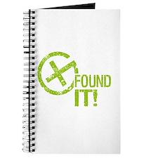 Geocaching FOUND IT! green Grunge Journal