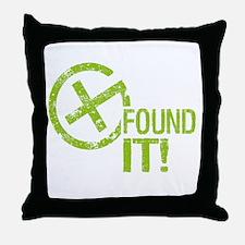 Geocaching FOUND IT! green Grunge Throw Pillow