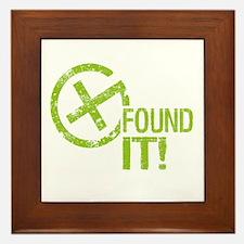 Geocaching FOUND IT! green Grunge Framed Tile