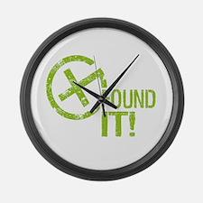 Geocaching FOUND IT! green Grunge Large Wall Clock