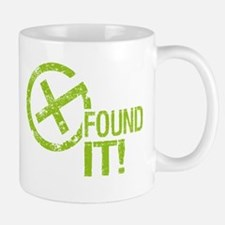 Geocaching FOUND IT! green Grunge Small Mugs