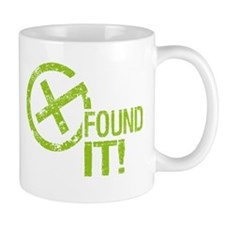 Geocaching FOUND IT! green Grunge Small Mugs
