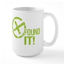 Geocaching FOUND IT! green Grunge Ceramic Mugs