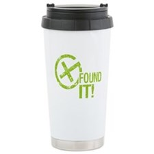 Geocaching FOUND IT! green Grunge Travel Mug