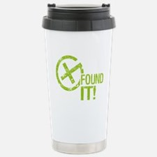 Geocaching FOUND IT! green Grunge Travel Mug