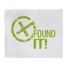Geocaching FOUND IT! green Grunge Throw Blanket