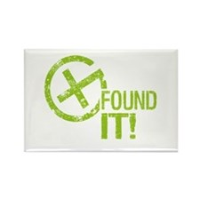 Geocaching FOUND IT! green Grunge Rectangle Magnet
