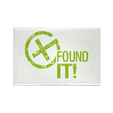 Geocaching FOUND IT! green Grunge Rectangle Magnet