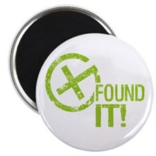 "Geocaching FOUND IT! green Grunge 2.25"" Magnet (10"