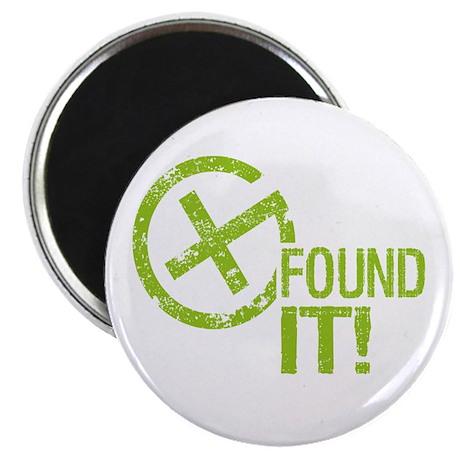 """Geocaching FOUND IT! green Grunge 2.25"""" Magnet (10"""