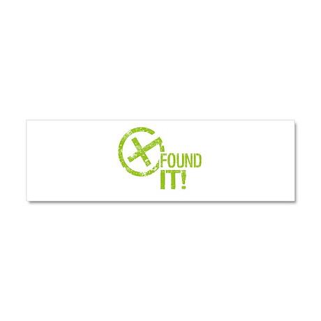 Geocaching FOUND IT! green Grunge Car Magnet 10 x