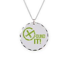 Geocaching FOUND IT! green Grunge Necklace
