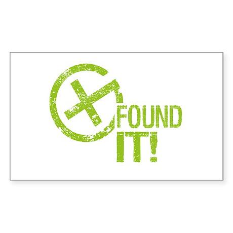 Geocaching FOUND IT! green Grunge Sticker (Rectang