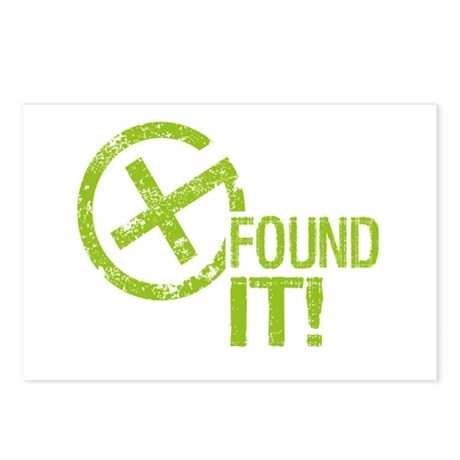 Geocaching FOUND IT! green Grunge Postcards (Packa