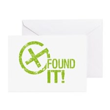 Geocaching FOUND IT! green Grunge Greeting Cards (