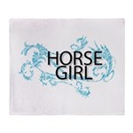 Horse Girl Throw Blanket